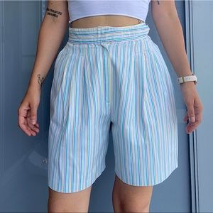 Vintage High Waisted Striped Shorts